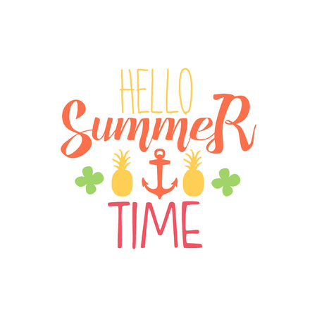 summer time: Great Summer Time Colorful Ad. Colorful Summer Beach Holiday Promotion Banner. Cool Calligraphic Hand Drawn Vector Advertisement For Travel Agency.