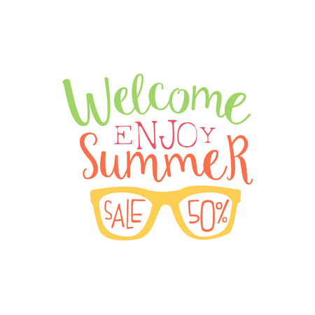 beach ad: Summer Sale Colorful Ad. Colorful Summer Beach Holiday Promotion Banner. Cool Calligraphic Hand Drawn Vector Advertisement For Travel Agency. Illustration
