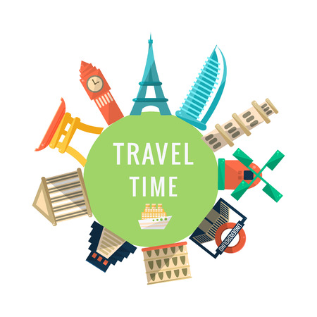Travel Time Logo With Famous Buildings. World Capitals Symbolic Buildings Around The Text Flat Illustration. Flat Cartoon Style Drawing With Travelling Destinations.