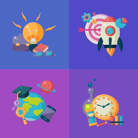 science education: Science Studies Four Illustrations Set. Cartoon Simple Style Scientific Objects Collection. College Science Education Vector Bright Color Illustration.
