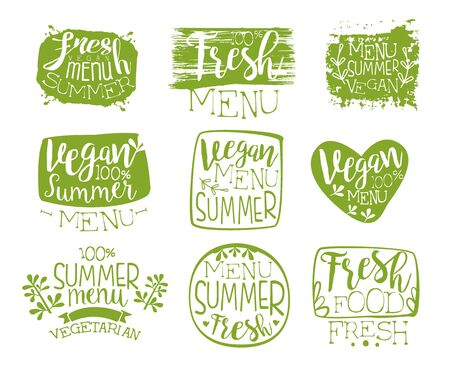 stamp collection: Vegan Menu Vintage Stamp Collection Of Monochrome Vector Design Labels On White Background