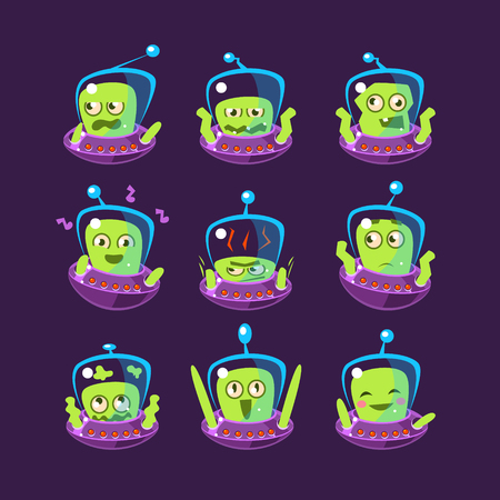 pissed off: Alien In Ufo Emoji Set Of Simplified Cartoon Character Stickers Isolated On Dark Background