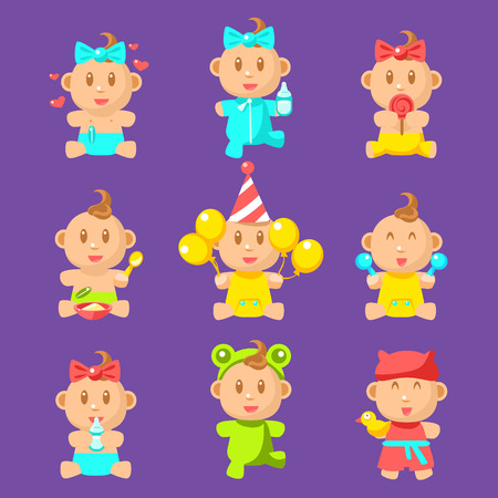 Toddlers And Babies Sticker Set Of Flat Simplified Cartoon Style Vector Icons Illustration