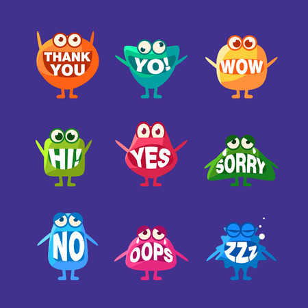 word of mouth: Monster With Words In Mouth For Teeth Set Of Funny Cartoon Emoticon Character Sticker Isolated On Blue Background