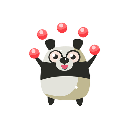 primitive: Panda Bear Party Animal Icon In Primitive Funny Flat Cartoon Style Isolated On White Background Illustration