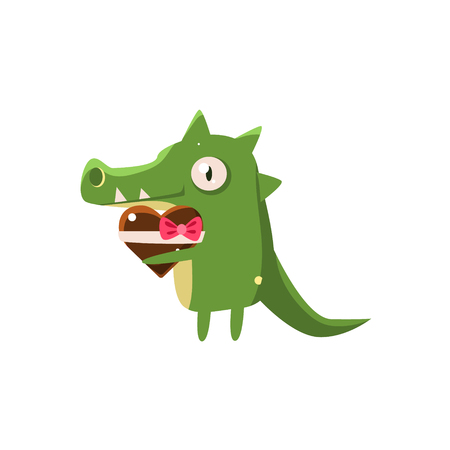 silly: Crocodile Party Animal Icon In Primitive Funny Flat Cartoon Style Isolated On White Background