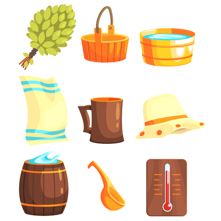 cartoon wood bucket: Russian Bathhouse Inventory Set Of Flat Cool Cartoon Vector Illustrations Isolated On White Background