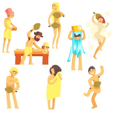 sauna nackt: Die Leute an der Bathhouse Satz flacher Cool Cartoon Vektor-Illustrationen auf wei�en Hintergrund Illustration