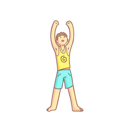 salutation: Man Doing Sun Salutation Yoga Asana Flat Outlined Pale Color Funny Drawing Isolated On White Background