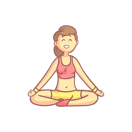 flexible girl: Girl In Lotus Yoga Pose Flat Outlined Pale Color Funny Drawing Isolated On White Background Illustration