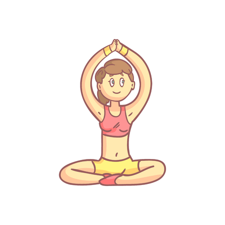 pale color: Girl In Meditation Yoga Pose Flat Outlined Pale Color Funny Drawing Isolated On White Background