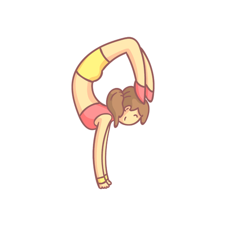 hand stand: Woman Doing Advanced Hand Stand Yoga Pose Flat Outlined Pale Color Funny Drawing Isolated On White Background