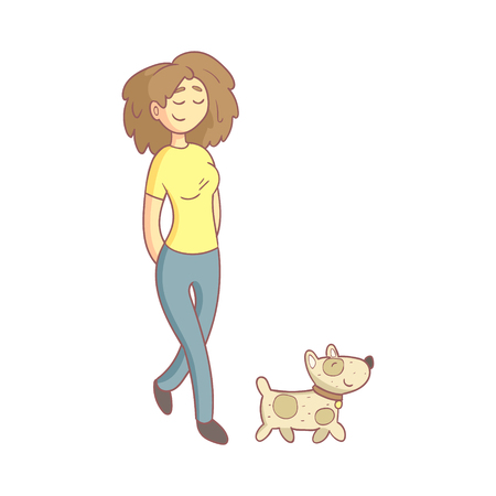 pale color: Woman Walking The Dog Flat Outlined Pale Color Funny Hand Drawn Vector Illustration Isolated On White Background