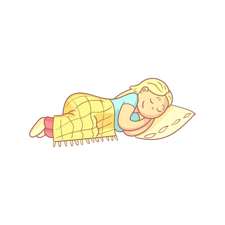 pale color: Girl Taking A Nap In Bed Flat Outlined Pale Color Funny Hand Drawn Vector Illustration Isolated On White Background