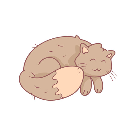grey cat: Sleeping Fluffy Grey Cat Flat Outlined Pale Color Funny Hand Drawn Vector Illustration Isolated On White Background