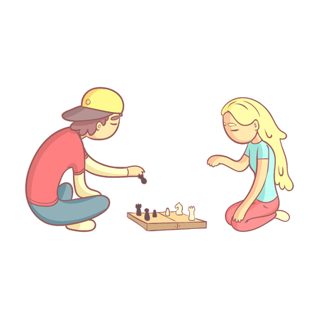 sleepiness: Girl And Guy Playing Chess Flat Outlined Pale Color Funny Hand Drawn Vector Illustration Isolated On White Background