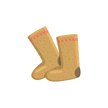 characteristics: Russian Felt Boots Bright Color Detailed Cartoon Style Vector Illustration Isolated On White Background