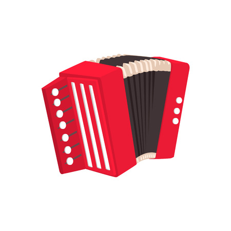 Russian Button Accordion Bright Color Detailed Cartoon Style Vector Illustration Isolated On White Background Ilustração Vetorial
