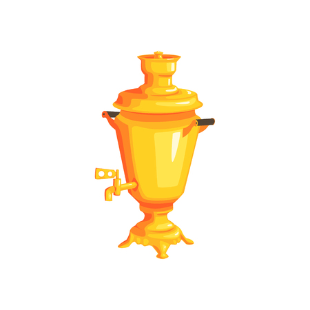 samovar: Golden Russian Water Boiler Bright Color Detailed Cartoon Style Vector Illustration Isolated On White Background