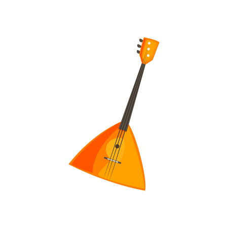 stringed: Balalaika Stringed Music Instrument Bright Color Detailed Cartoon Style Vector Illustration Isolated On White Background