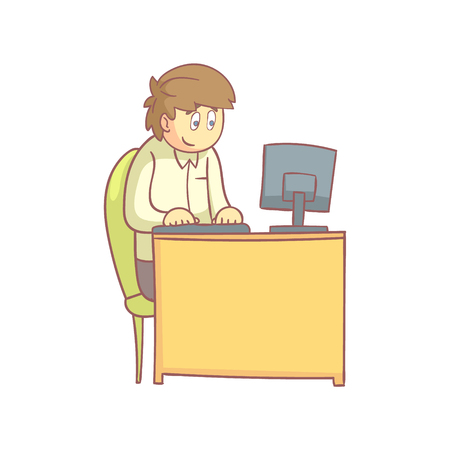 pale color: Office Worker Behind The Desk Flat Outlined Pale Color Funny Hand Drawn Vector Illustration Isolated On White Background