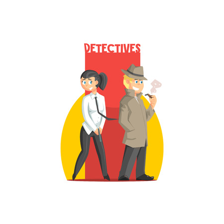 simplified: Private Detectives Couple Banner Flat Simplified Colorful Vector Illustration Isolated On White Background