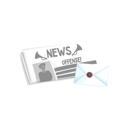 folded newspaper: Folded Newspaper And The Letter In Envelope Flat Simplified Colorful Vector Illustration Isolated On White Background Illustration