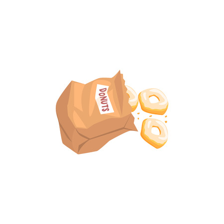 falling out: Doughnuts Falling Out From Paper Bag Flat Simplified Colorful Vector Illustration Isolated On White Background Illustration