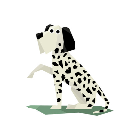 dalmatian: Black And White Dalmatian Dog Bright Color Simplified Geometric Style Flat Vector Illustrations On White Background