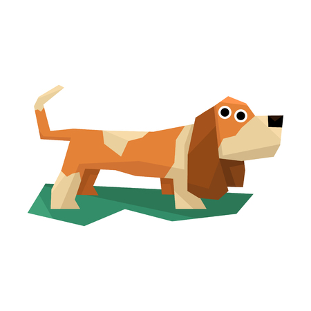 hound: Basset Hound Dog Bright Color Simplified Geometric Style Flat Vector Illustrations On White Background Illustration