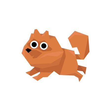 spitz: Pomeranian Spitz Dog Bright Color Simplified Geometric Style Flat Vector Illustrations On White Background Illustration