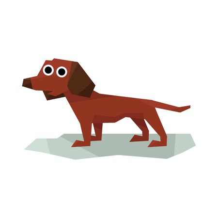 simplified: Dachshung Brown Dog Bright Color Simplified Geometric Style Flat Vector Illustrations On White Background Illustration