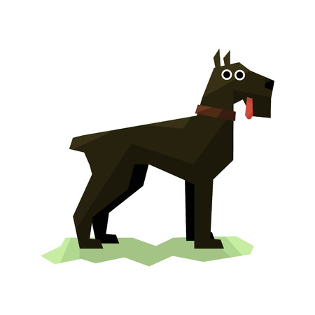 schnauzer: Giant Schnauzer Black Dog Bright Color Simplified Geometric Style Flat Vector Illustrations On White Background