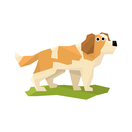 st bernard: St. Bernard Rescue Dog Bright Color Simplified Geometric Style Flat Vector Illustrations On White Background
