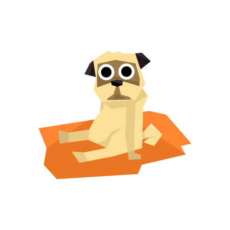 friend  nobody: Small Pug Dog Bright Color Simplified Geometric Style Flat Vector Illustrations On White Background Illustration