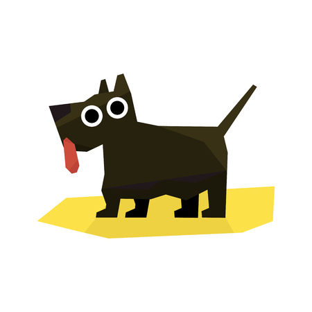 simplified: Small Black Terrier Dog Bright Color Simplified Geometric Style Flat Vector Illustrations On White Background