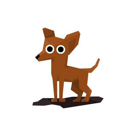 miniature dog: Chihuahua Miniature Dog Bright Color Simplified Geometric Style Flat Vector Illustrations On White Background