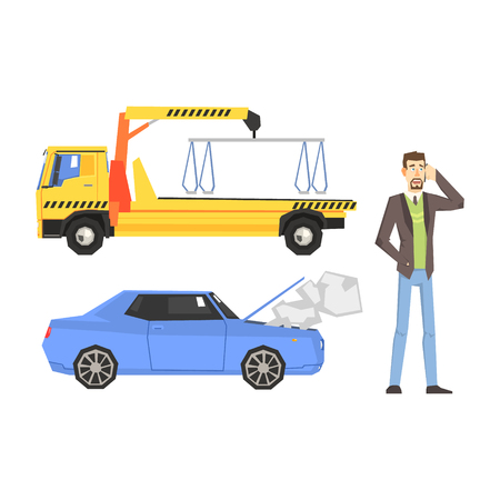 stopped: Evacuation Truck, Broken Car And Man Calling Evacuator Flat Simplified Colorful Vector Illustration Isolated On White Background