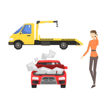 stopped: Evacuation Truck, Broken Car And Woman Calling Evacuator Flat Simplified Colorful Vector Illustration Isolated On White Background