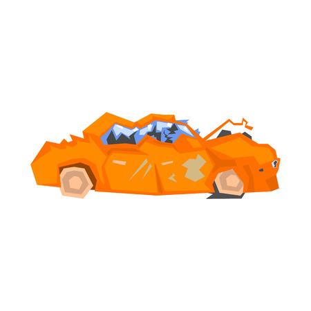 smashed: Completely Crashed Orange Car Flat Simplified Colorful Vector Illustration Isolated On White Background Illustration