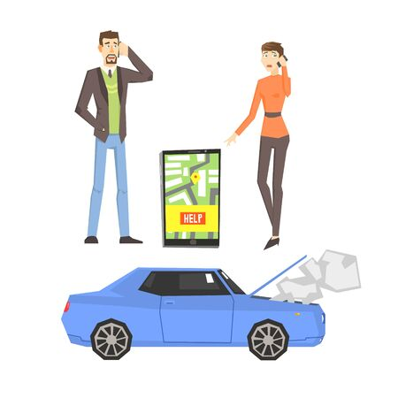 calling for help: Broken Car, Couple Calling For Help And Smartphone App Flat Simplified Colorful Vector Illustration Isolated On White Background