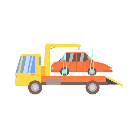 evacuating: Truck Evacuating Red Car Flat Simplified Colorful Vector Illustration Isolated On White Background