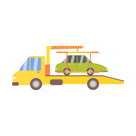 evacuating: Truck Evacuating Green Car Flat Simplified Colorful Vector Illustration Isolated On White Background Illustration