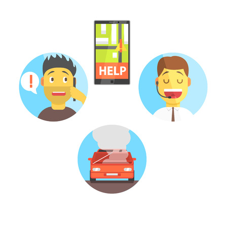 stopped: Evacuation Service App And Operator Helping The Client Flat Simplified Colorful Vector Illustration Isolated On White Background