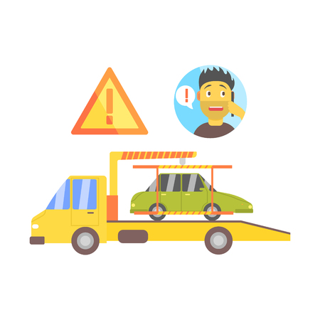 evacuating: Man Calling And Truck Evacuating His Car Flat Simplified Colorful Vector Illustration Isolated On White Background Illustration