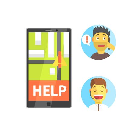 mobile operators: Client And Operator Of Evacuation Service With Smartphone App Flat Simplified Colorful Vector Illustration Isolated On White Background