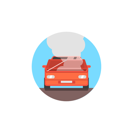 stopped: Broken Car With Fuming Engine Flat Simplified Colorful Vector Illustration Isolated On White Background Illustration