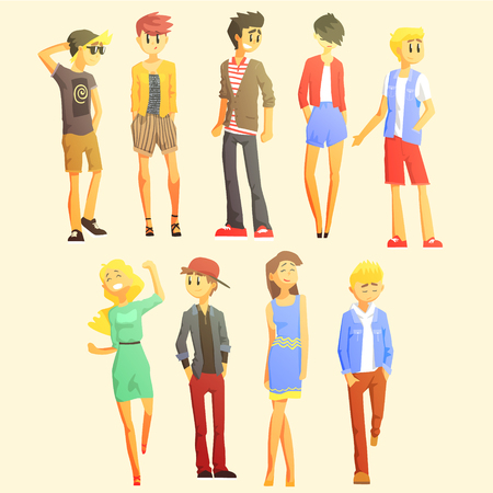 stylishly: Young Stylishly Dressed People Flat Cool Cartoon Style Vector Drawings Set Illustration