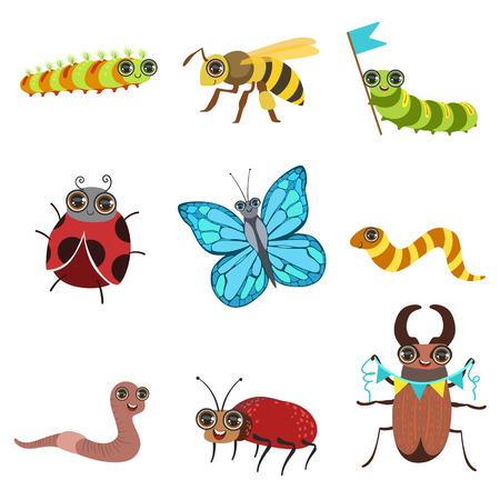 gusano caricatura: Imágenes de dibujos animados de insectos fijados en estilo femenino iconos plana aislado en el fondo blanco