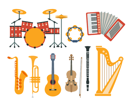 Music Instruments Realistic Simple Vector Designed Icon Collection On White Background